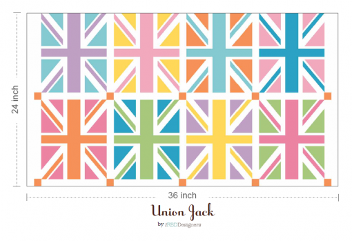 DC570-ORANGE Union Jack Squares Orange Panel 2