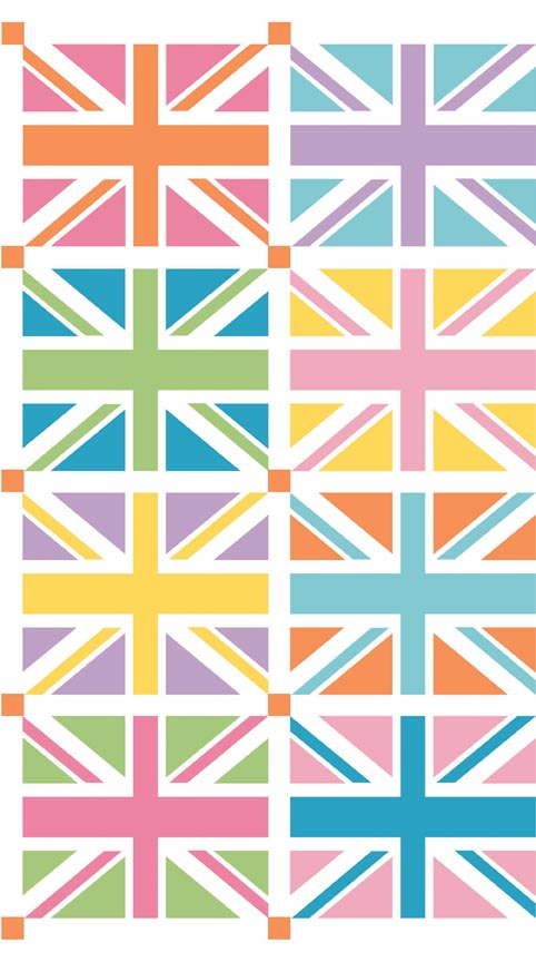 DC570-ORANGE Union Jack Squares Orange Panel 1