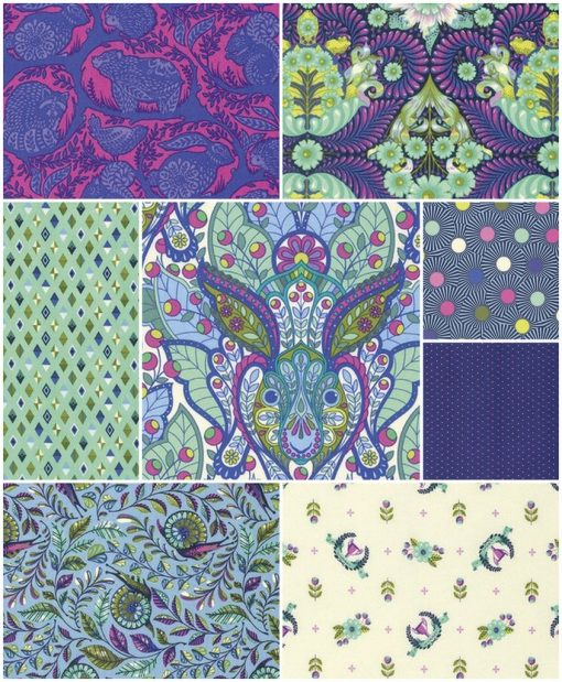 Slow and Steady by Tula Pink - FQ Bundle in Blue Raspberry 1