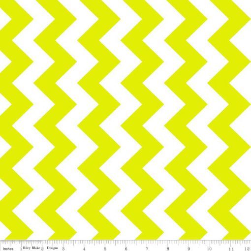 (Riley Blake Designs) Neon Basics, Medium Chevron in Neon Green 1