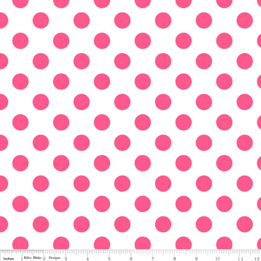 (Riley Blake Designs) Neon Basics, Medium Dots in Neon Pink on White 1