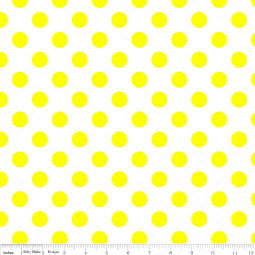 (Riley Blake Designs) Neon Basics, Medium Dots in Neon Yellow on White 1