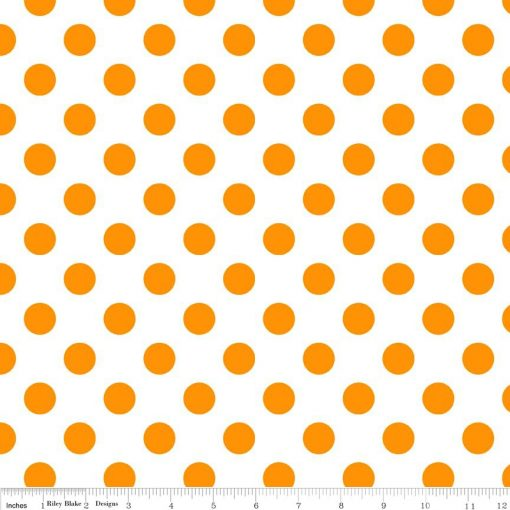 (Riley Blake Designs) Neon Basics, Medium Dots in Neon Orange on White Riley Blake Designs FQ-C490-105-NEONORANGE 1