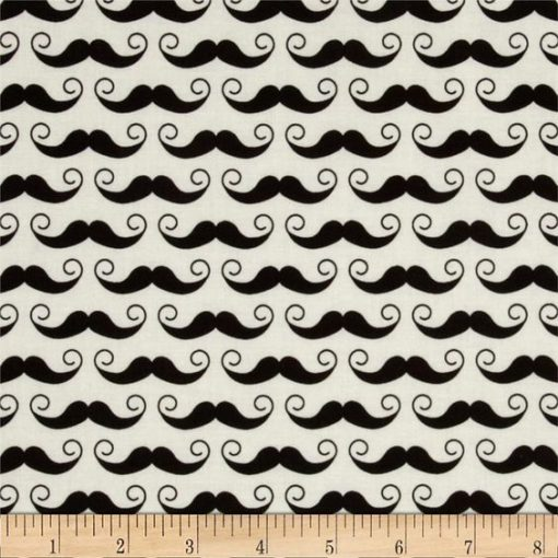 (Riley Blake) Geekly Chic, Mustache in Cream - FQ 1
