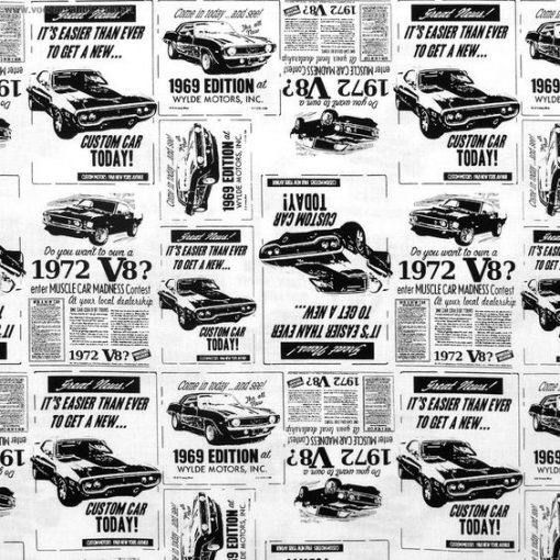 (Timeless Treasures) Totally 80s, Car Ads in White - FQ Timeless Treasures FQ-FUN-C6755 1
