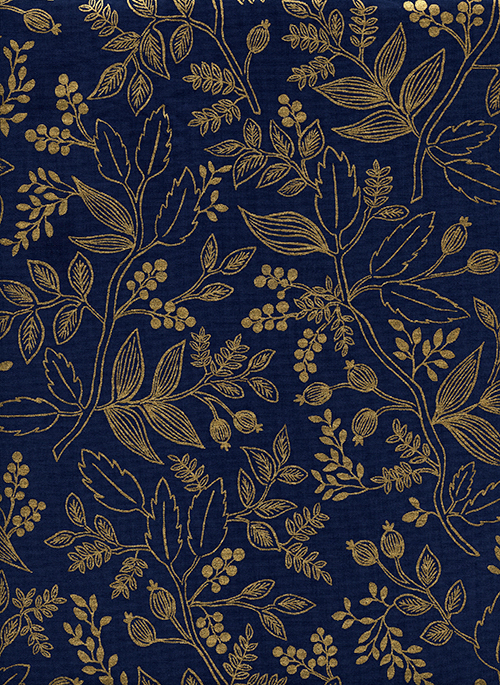 (Rifle Paper Co) Les Fleurs, Queen Anne in Navy Metallic Rifle Paper Co. 8005-03 1