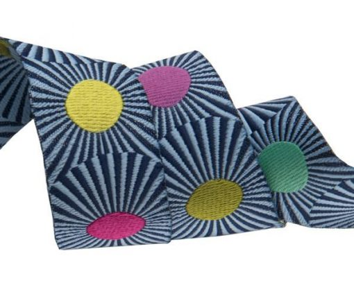 """(Tula Pink Ribbons) Slow and Steady, Navy Blue Stripes And Dots 7/8"""" 1"""