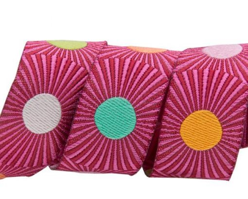 """(Tula Pink Ribbons) Slow and Steady, Pink Stripes And Dots 7/8"""" 1"""