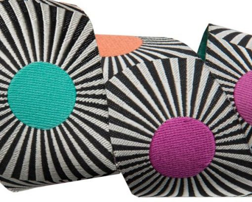 """(Tula Pink Ribbons) Slow and Steady, Wide Black Stripes And Dots 1 1/2"""" Tula Pink TK-33_38mm_col_1 1"""
