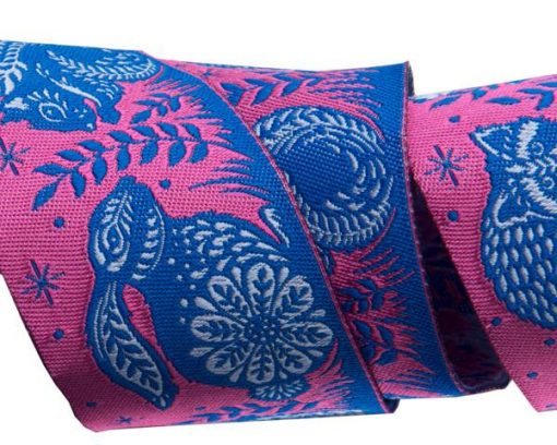 """(Tula Pink Ribbons) Slow and Steady, Animal Grandstand Pink And Blue 1 1/2"""" 1"""