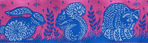 """(Tula Pink Ribbons) Slow and Steady, Animal Grandstand Pink And Blue 1 1/2"""" 2"""