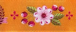 "(Tula Pink Ribbons) Slow and Steady, The Winner In Orange 7/8"" 3"