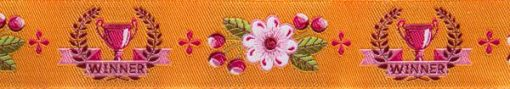 "(Tula Pink Ribbons) Slow and Steady, The Winner In Orange 7/8"" 2"