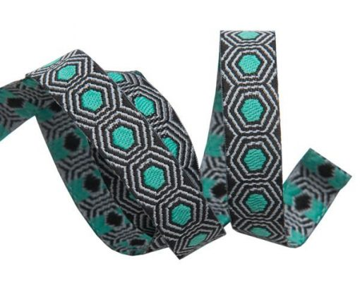 """(Tula Pink Ribbons) Slow and Steady, Tiny Mint Tortoise Dots On Black 3/8"""" 1"""