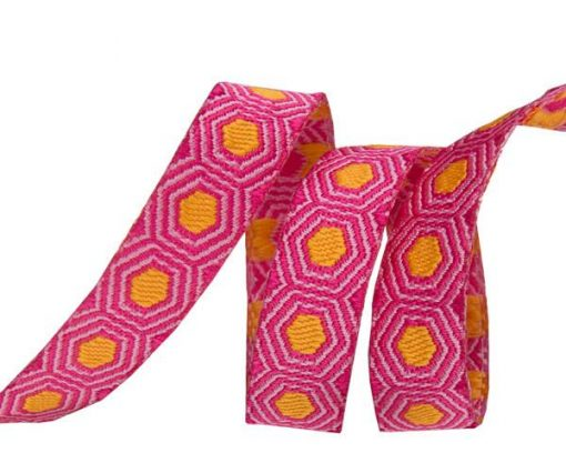 """(Tula Pink Ribbons) Slow and Steady, Tiny Gold Tortoise Dots On Pink 3/8"""" 1"""