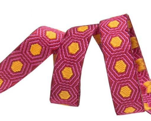 "(Tula Pink Ribbons) Slow and Steady, Tiny Gold Tortoise Dots On Burgundy 3/8"" Tula Pink TK-36_10mm_col_5 1"