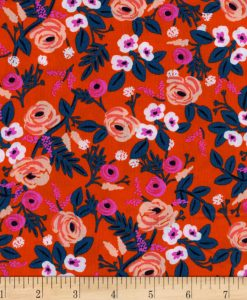(Rifle Paper Co) Wonderland Rayon, Paint Roses Rayon in Orange 3