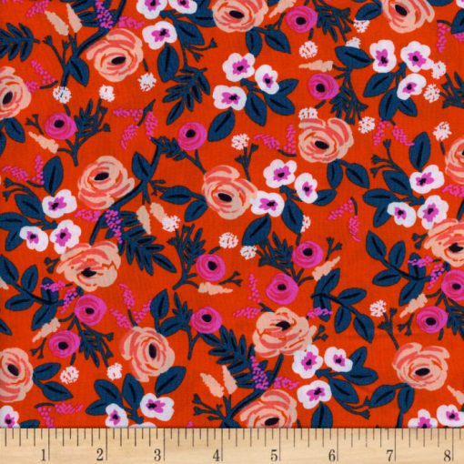 (Rifle Paper Co) Wonderland Rayon, Paint Roses Rayon in Orange Rifle Paper Co. 8024-15 2