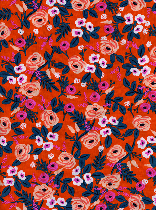 (Rifle Paper Co) Wonderland Rayon, Paint Roses Rayon in Orange Rifle Paper Co. 8024-15 1