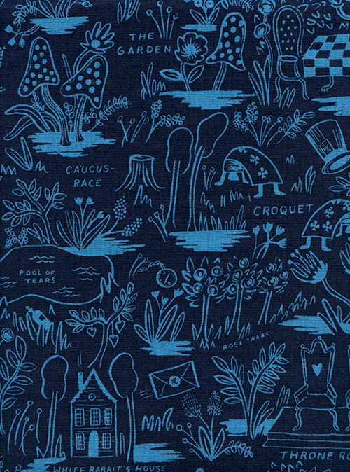 (Rifle Paper Co) Wonderland, Magic Forest Linen in Navy Rifle Paper Co. 8027-22 1