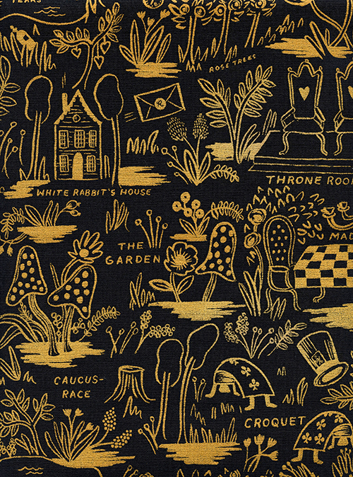 (Rifle Paper Co) Wonderland, Magic Forest Linen in Charcoal Metallic Rifle Paper Co. 8027-32 1