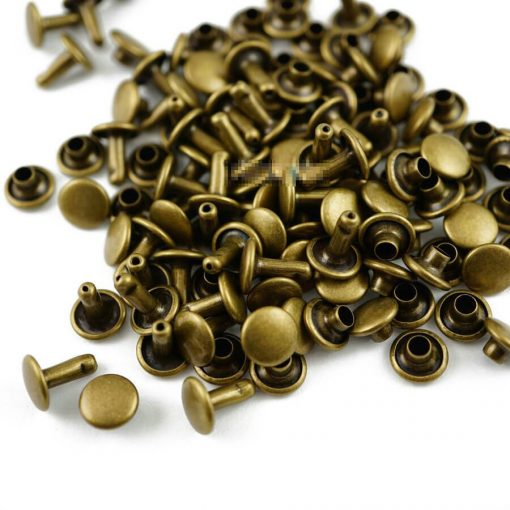 "Rivet Double Cap 8mm (5/16"") Round in Bronze - 50 sets 1"