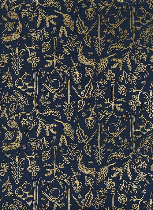 FQ - (Rifle Paper Co) Amalfi, Black Forest in Navy Metallic 1