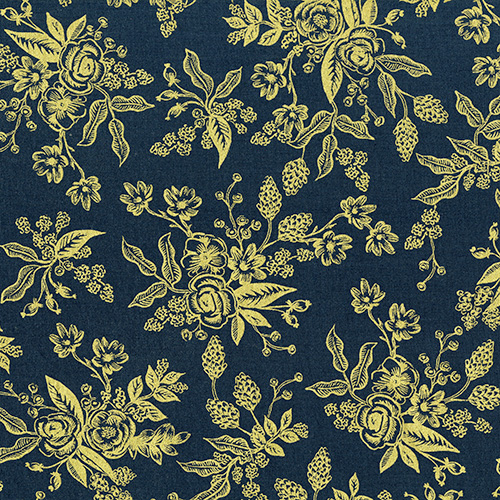 FQ - (Rifle Paper Co) English Garden, Floral Toile Navy Metallic Rifle Paper Co. FQ-8060-02 1