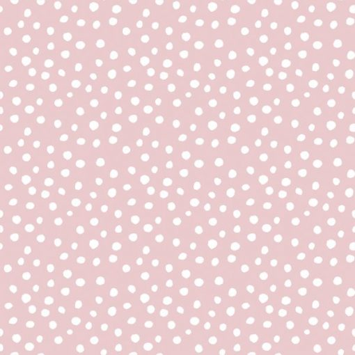 (Indy Bloom) Periwinkle Blossoms, Little Modern Polka Dot in White on Powder Pink Indy Bloom 61819 1