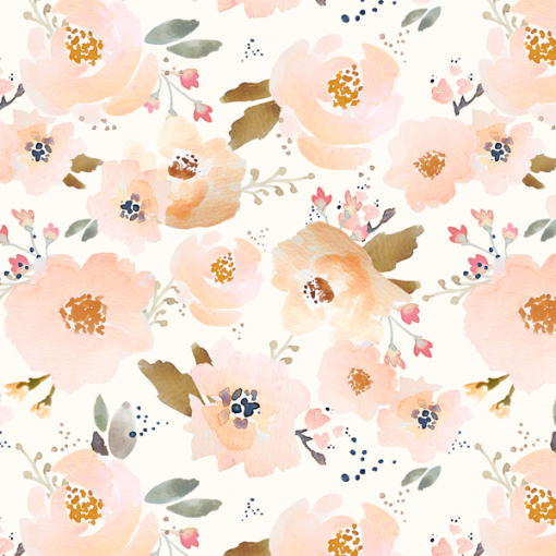 (Indy Bloom) Watercolor Florals, Blossoming Floral in Peachy 1