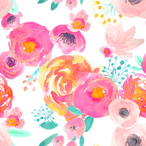 (Indy Bloom) Watercolor Florals, Blushing Floral in Fuchsia on White 1