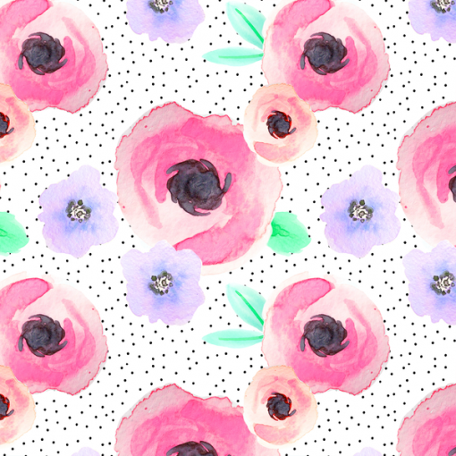 (Indy Bloom) Watercolor Florals, Pin Dot Floral in Flirty 1