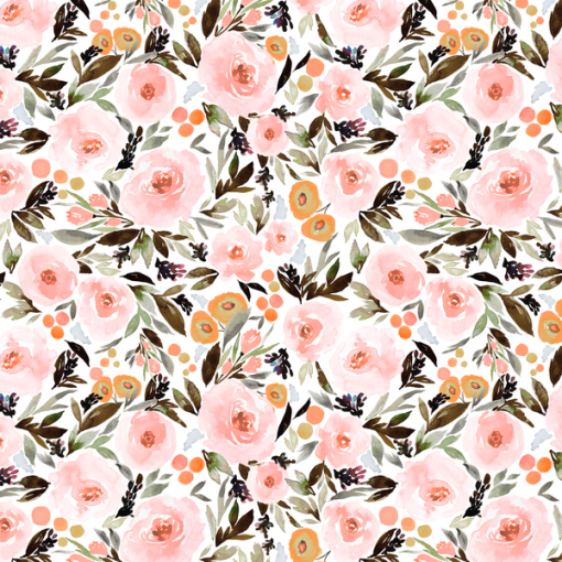 (Indy Bloom) Watercolor Florals, Berry Blossom in Blush 1