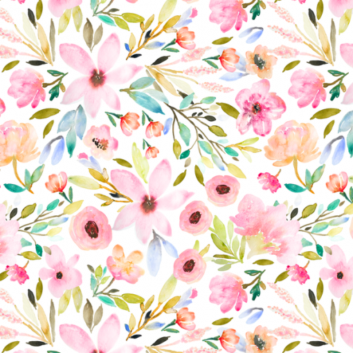 (Indy Bloom) Watercolor Florals, Little Mae in Green 1