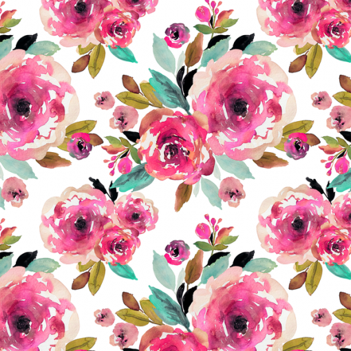 (Indy Bloom) Watercolor Florals, Roselynn Floral in Magenta on White 1
