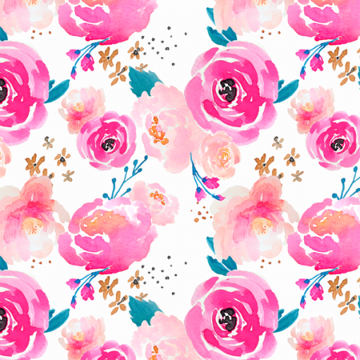 (Indy Bloom) Watercolor Florals, Little Punchy Floral in Fuchsia Indy Bloom 59883 1