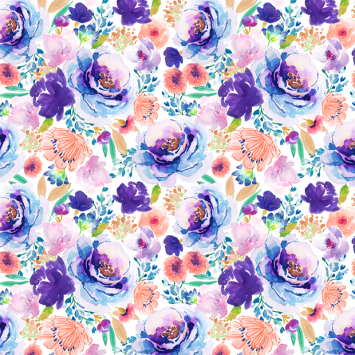 (Indy Bloom) Watercolor Florals, Small Enchanted Bloom in Ultra Violet 1