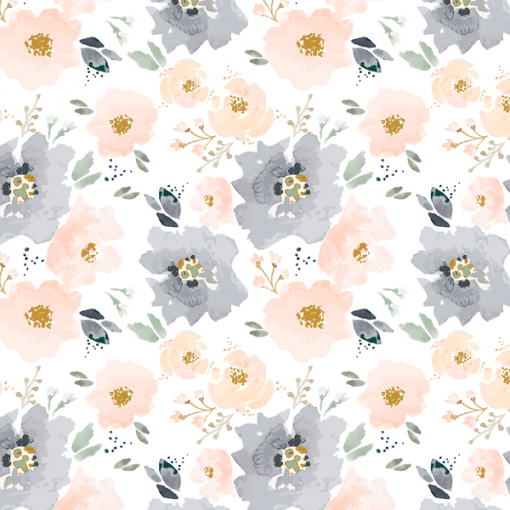 (Indy Bloom) Watercolor Florals, Full Bloom Floral in Peach and Navy 1