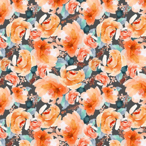 (Indy Bloom) Watercolor Florals, Autumn Floral in Warm Orange 1