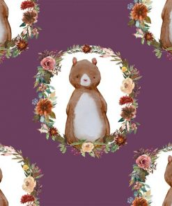 (Shopcabin) Autumn Woodland, Woodland Bear in Plum