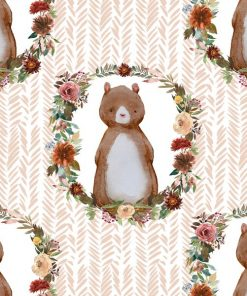 (Shopcabin) Autumn Woodland, Woodland Bear in Shell Herringbone