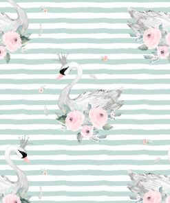 (Shopcabin) Blush Blooms, Blush Swans in Mint Green Stripes