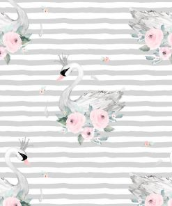 (Shopcabin) Blush Blooms, Blush Swans in Silver Stripes