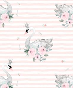 (Shopcabin) Blush Blooms, Blush Swans in Soft Blush Stripes