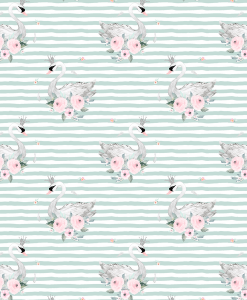 (Shopcabin) Blush Blooms, Small Blush Swans in Mint Green Stripes