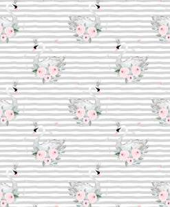 (Shopcabin) Blush Blooms, Small Blush Swans in Silver Stripes