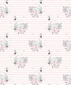 (Shopcabin) Blush Blooms, Small Blush Swans in Soft Blush Stripes