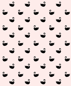 (Shopcabin) Blush Blooms, Small Swan Silhouette in Black on Soft Blush