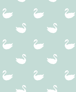 (Shopcabin) Blush Blooms, Swan Silhouette in White on Mint Green