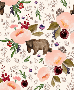 (Shopcabin) Floral Trail Bear, Floral Bear in Soft Ivory